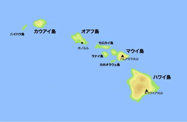 ハワイ諸島の8つの主要な島