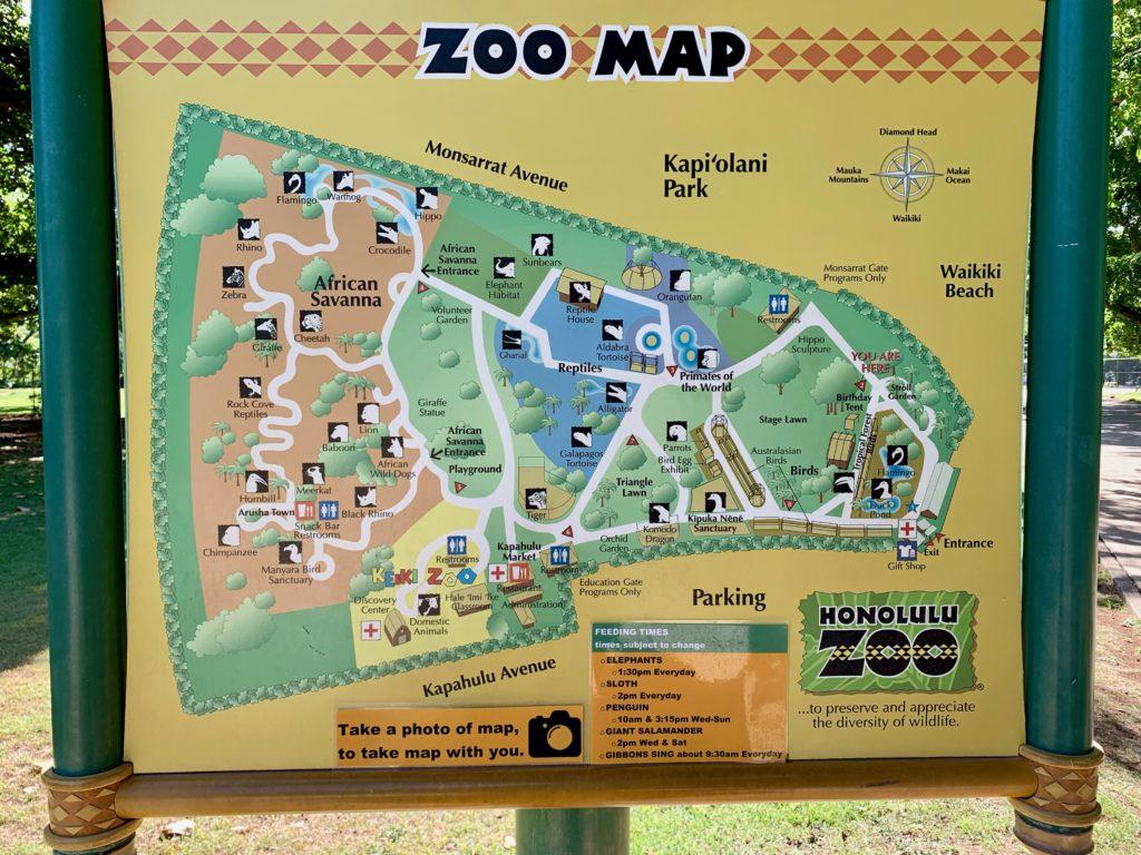 ホノルル動物園内のマップ。