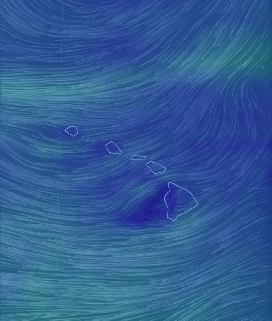 earth nullschoolの画面ショット オアフ島には東から西へ風が吹いている。