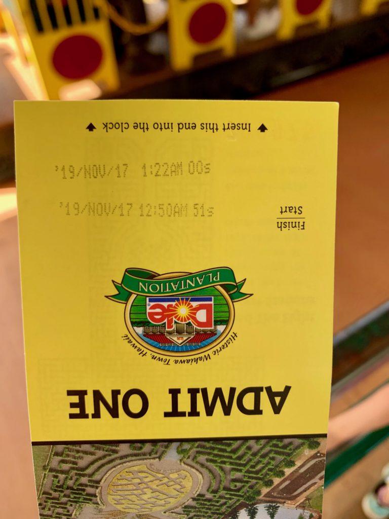 Start Goalの時間が印字されたチケット