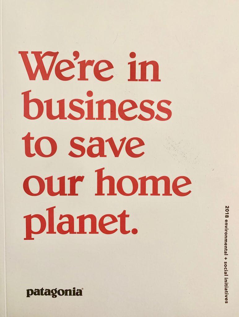 パタゴニアフリーブックの表紙。 白い背景に赤文字でビジョンが大きく書かれている。