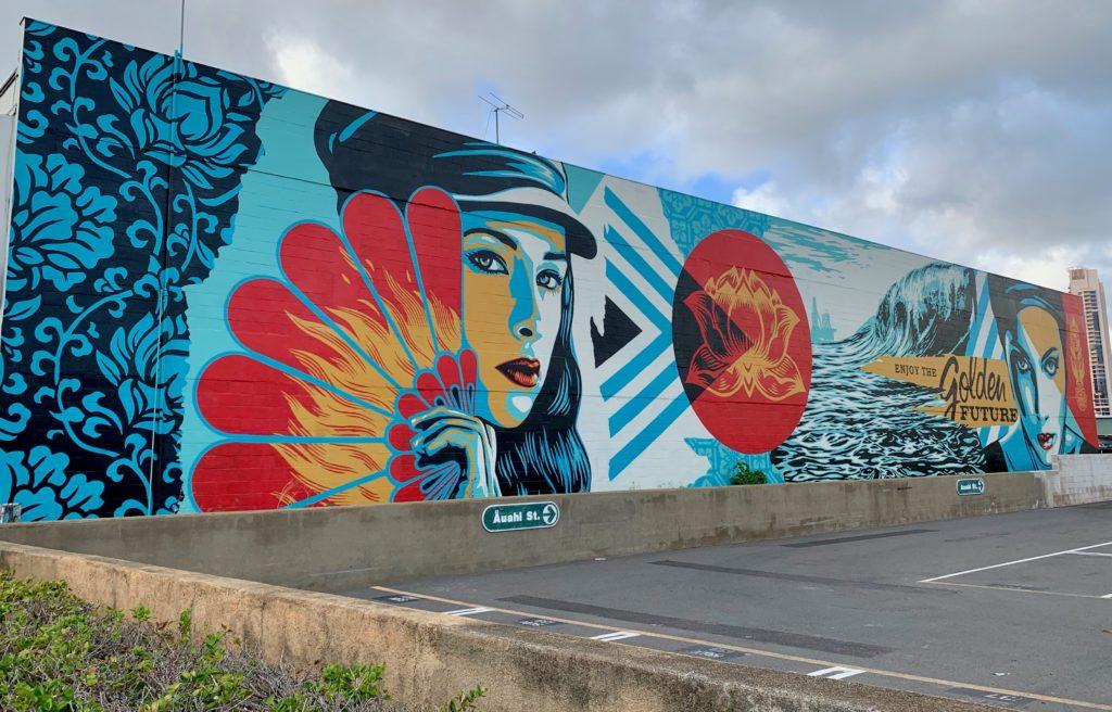 アラモアナブールバードから見える巨大ウォールアートその2