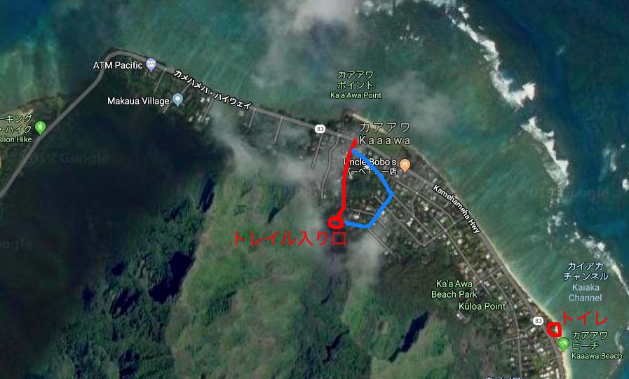 google mapでトレイルの入り口をマッピングしたもの