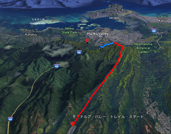 google earthで見たモアナルアからhaiku stairsへの道