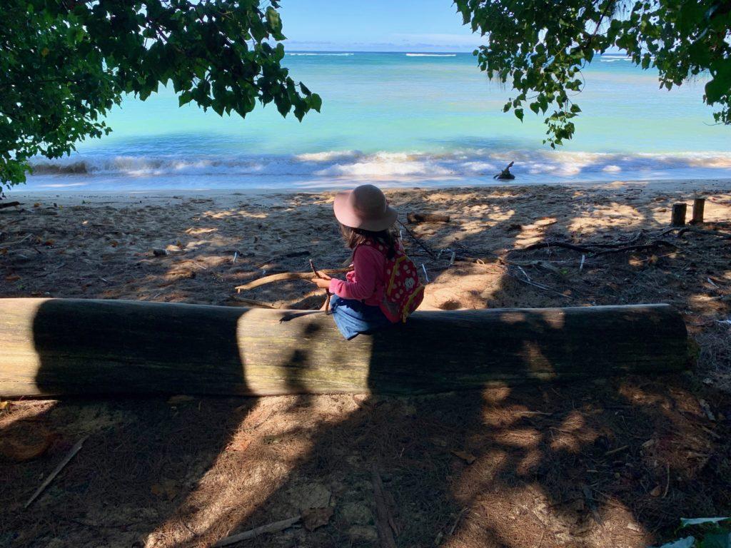 丸太に座り、海を眺める娘 何かが流れてきている