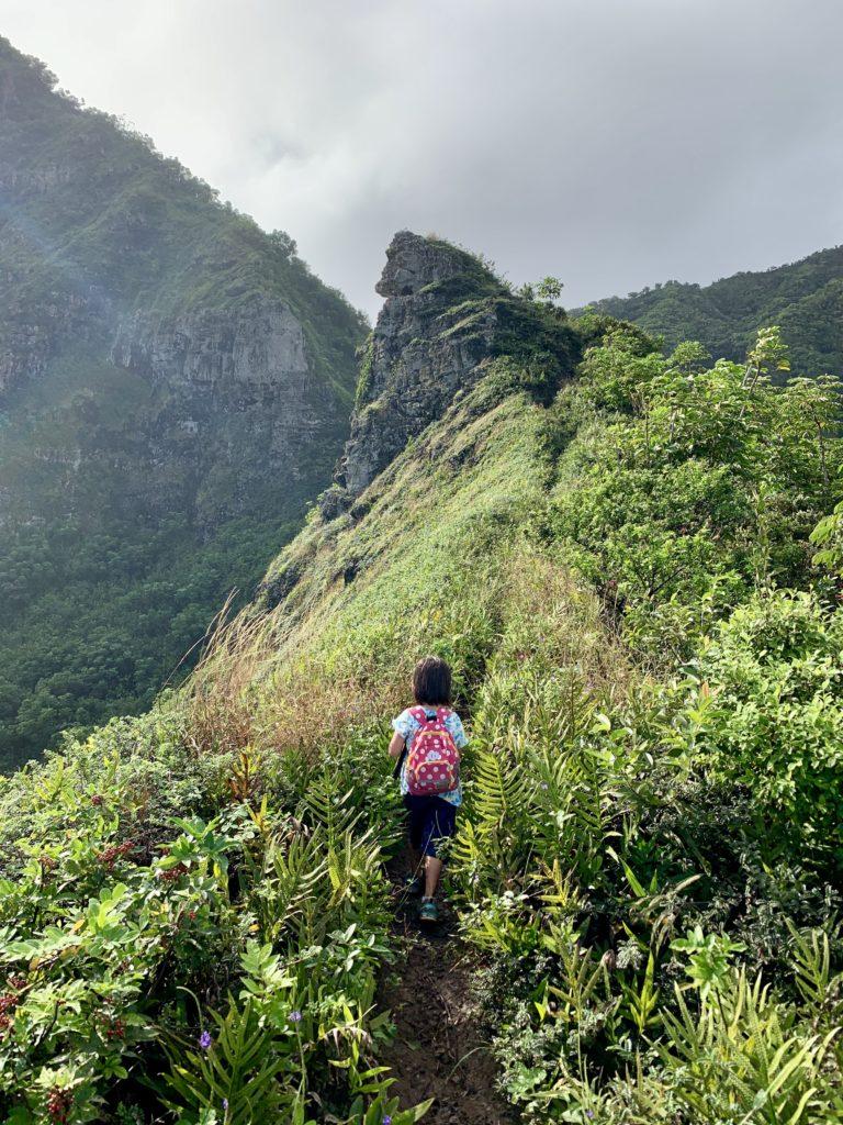山の手前にある岬へ向かって歩く娘