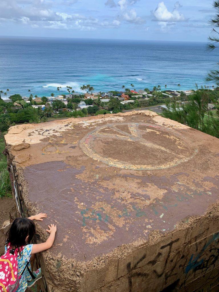 上にピースマークの描かれたピルボックスと海