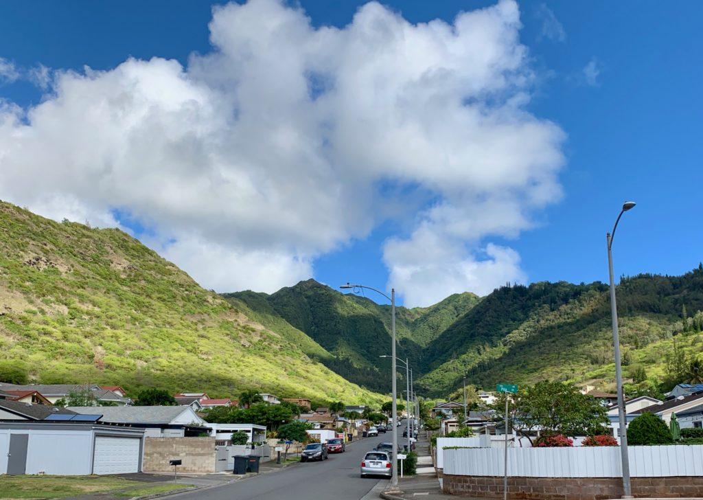 住宅街の奥には大きな山が広がっている