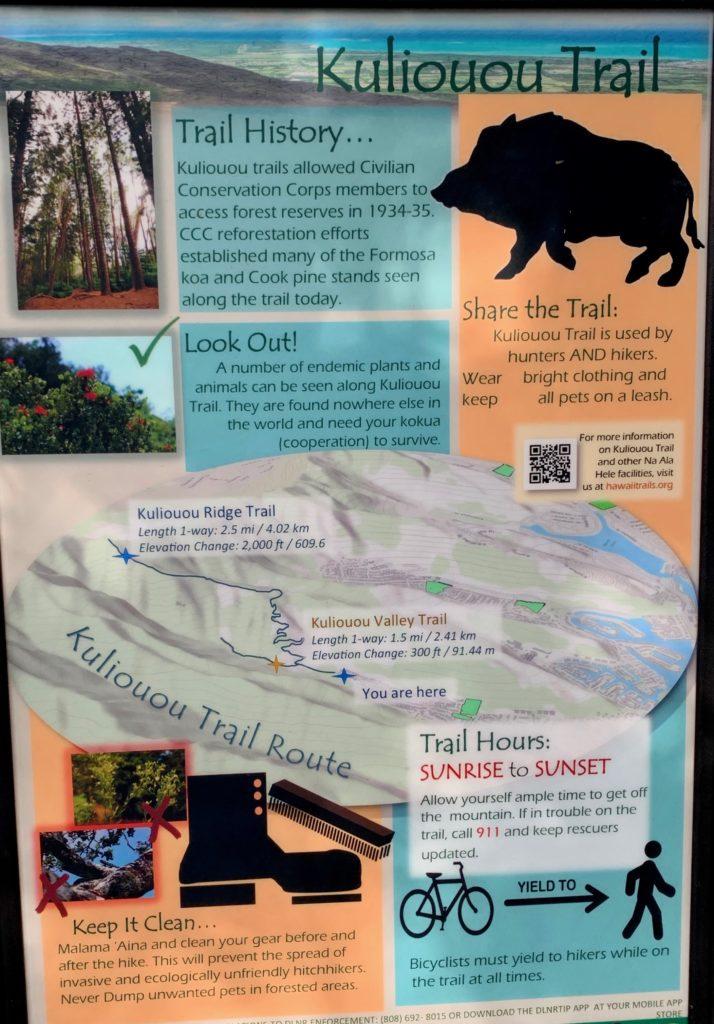 看板の一つ クリオウオウリッジトレイルの情報が書かれている。
