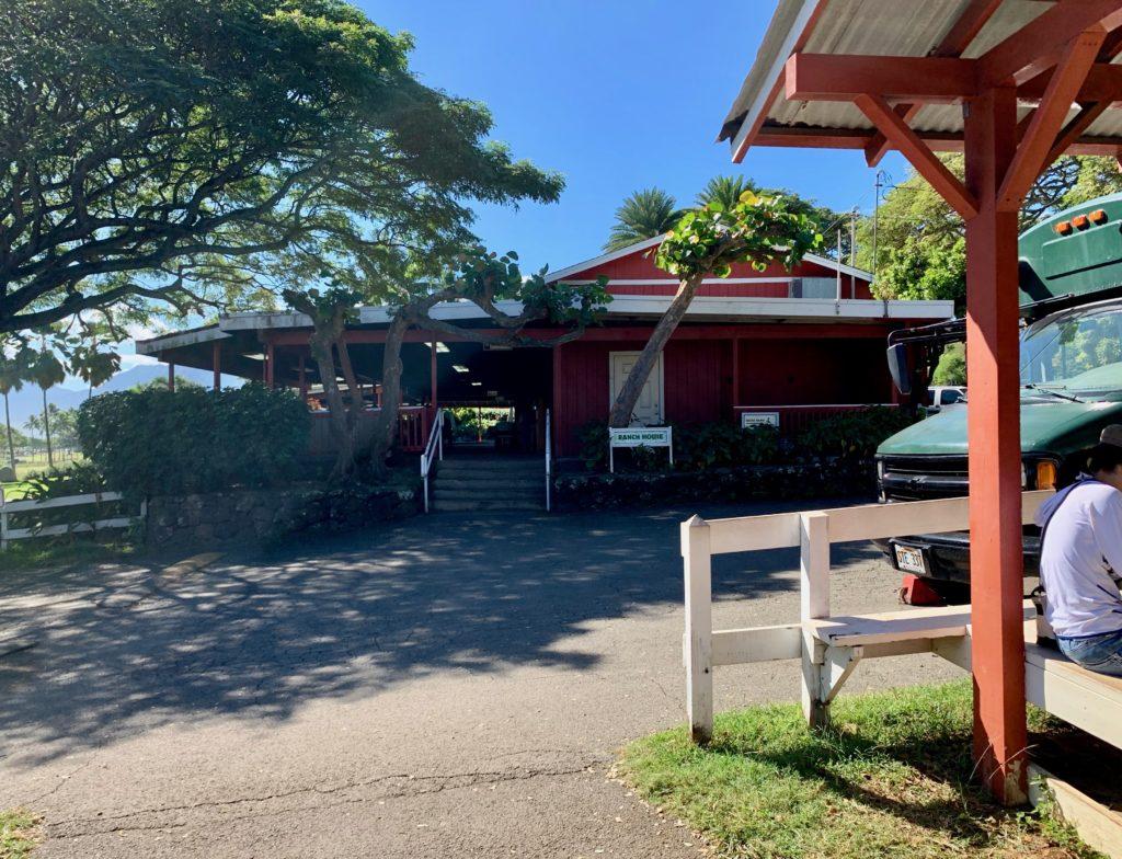 ジップライン乗り場の奥に見える赤い建物がレストラン