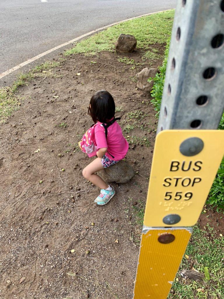 バス停で石に座りバスを待つ娘