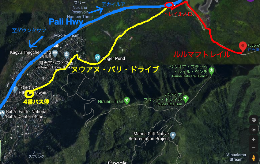 マップ上にルルマフトレイルの道のりを記したもの
