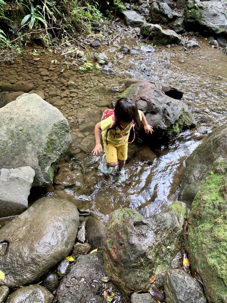 川の中を渡る娘