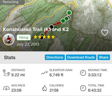 コナフアヌイトレイルの登頂記録