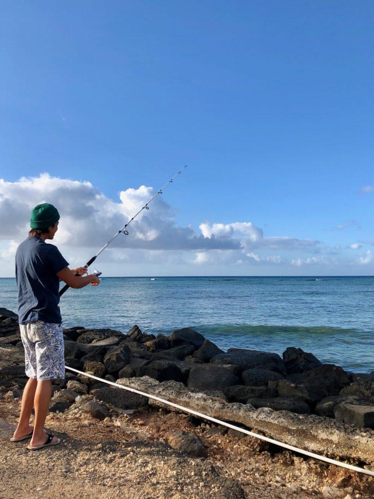 釣りをする私