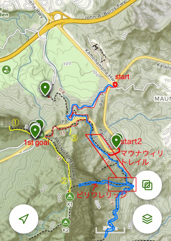 ピリワレリッジトレイルのトレイルロードをマップ上に記したもの
