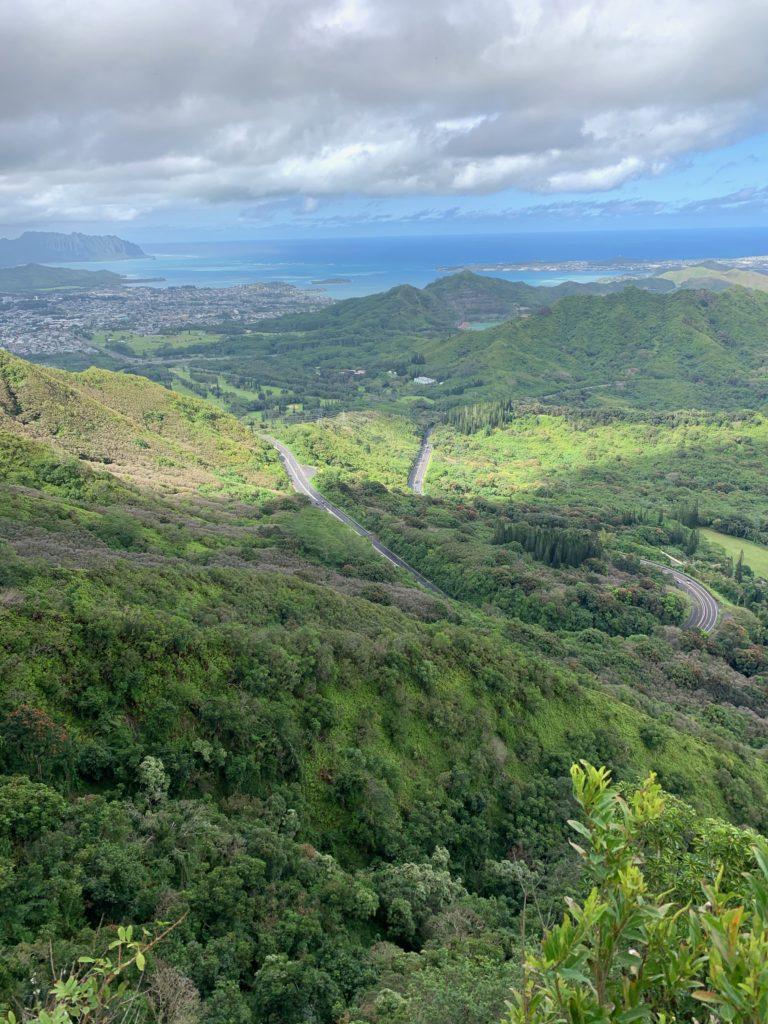ピリワレリッジトレイルの終点からの眺め パリハイウェイが上から見える 奥にはクアロアの山が見える