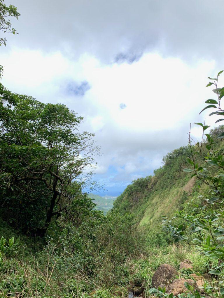 滝壺からきた道を振り返ると、遠くの海が見える。 両脇に山があり凹んだ部分にいることがわかる。