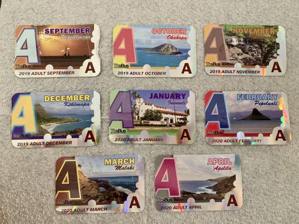 バスパス8枚を並べた写真
