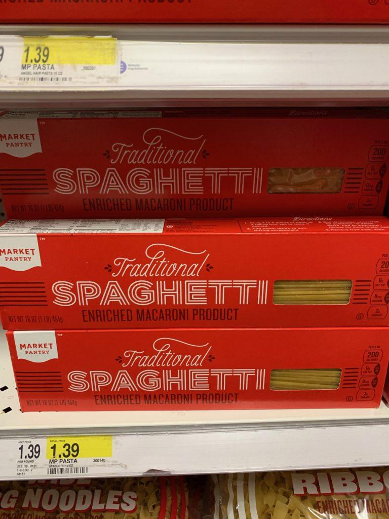 ターゲットオリジナルブランド「マーケットパントリー」のスパゲティ