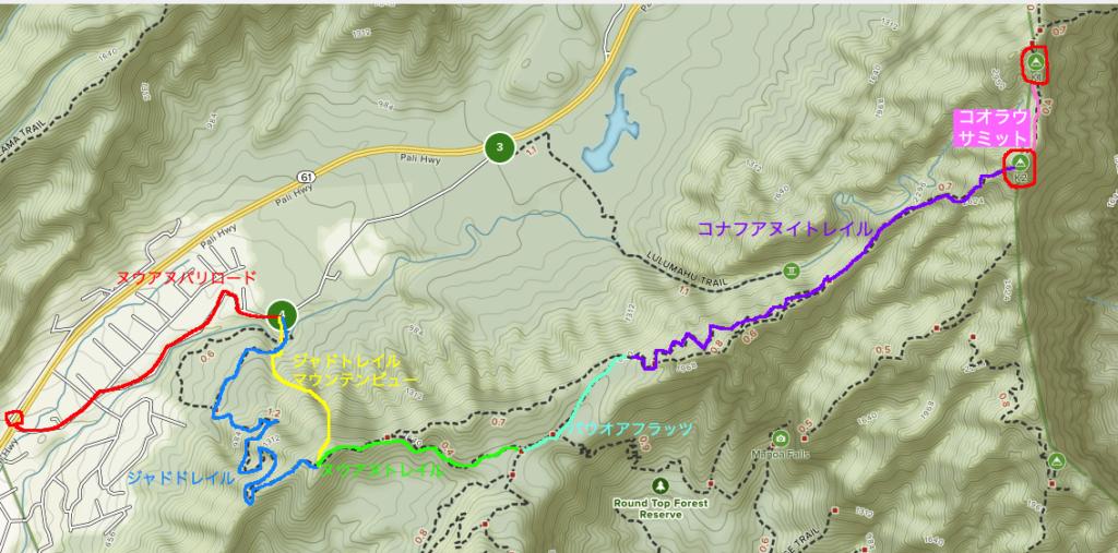 当日歩いたトレイルをマップに記したもの