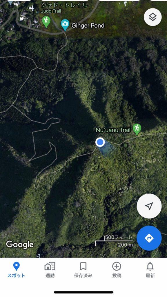 google map上でヌウアヌトレイルと合流している