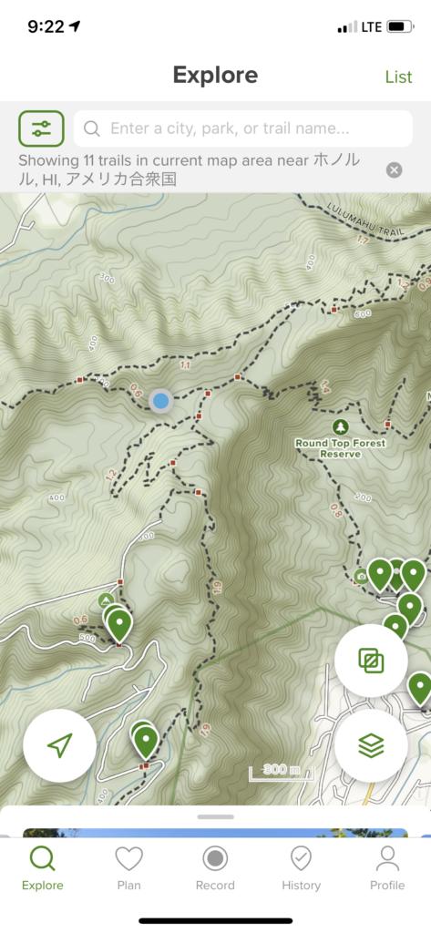 Alltrailsのマップと現在地
